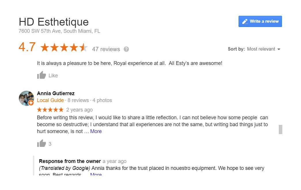 HD Esthetique Reviews